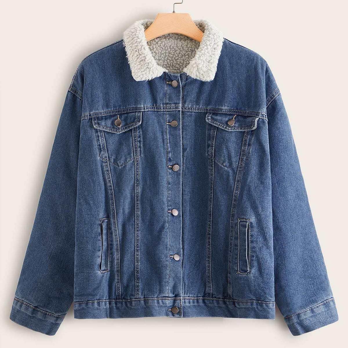 Blauw Casual Vlak Grote maten: jeansjassen