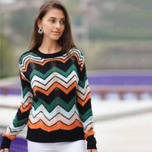 Colorful Chevron Print Cut Out Sweater