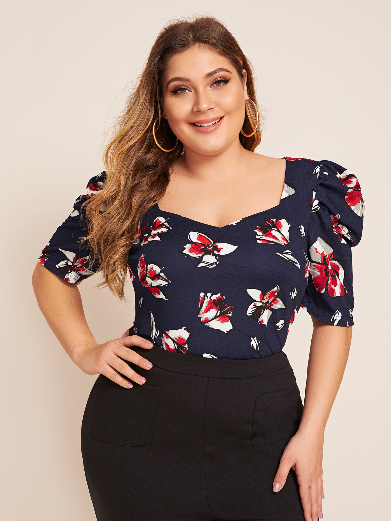 Plus Puff Sleeve Floral Print Top