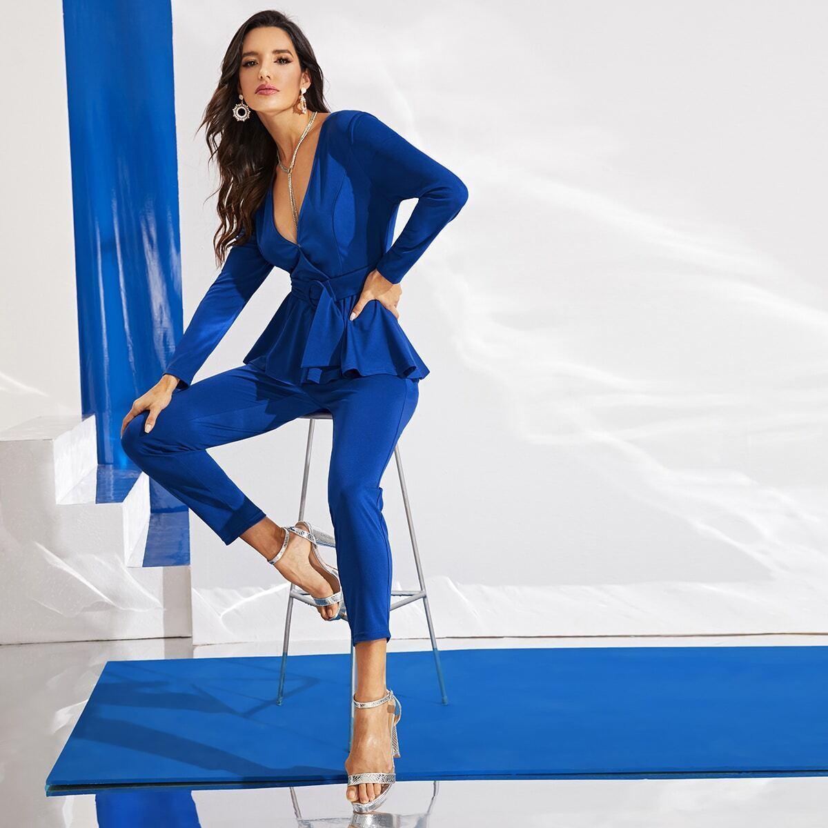 Blauw Elegant Vlak Jumpsuits Rits
