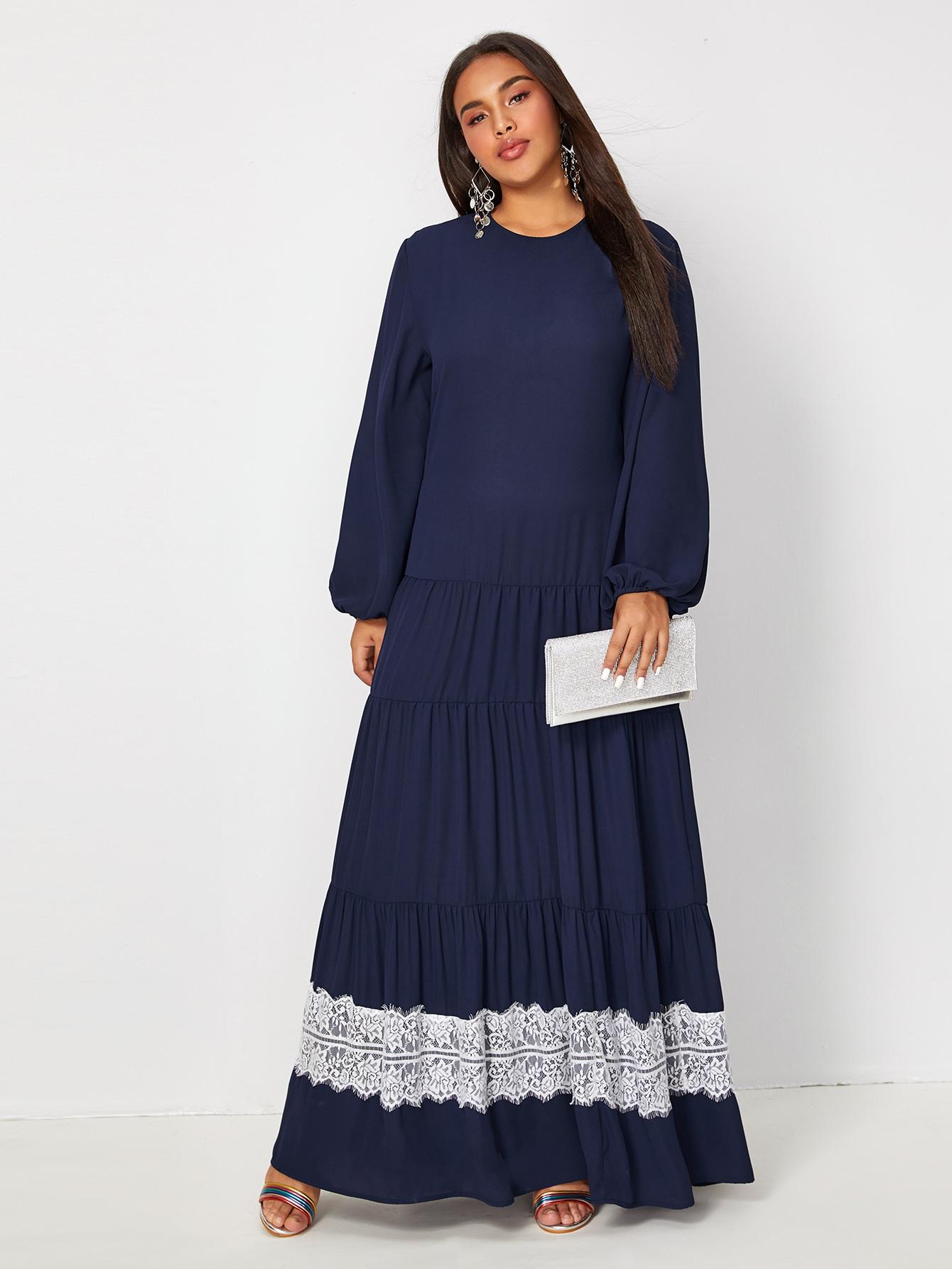 Платье размера плюс с кружевом и оборками