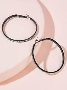 Rhinestone | Engrave | Earring | Hoop
