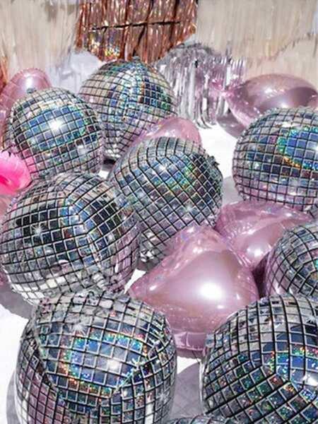 Disco Balloon 1pc With Heart Shaped Balloon 5pcs