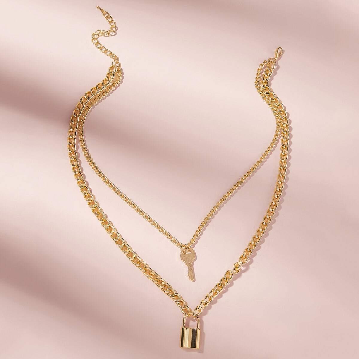 SHEIN / Mehrschichtige Halskette mit Schlüssel & Verschluss Anhänger 1 Stück