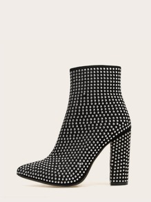 Black Glamorous Plain Other Winter Boots, size features are:Bust: ,Length: ,Sleeve Length: