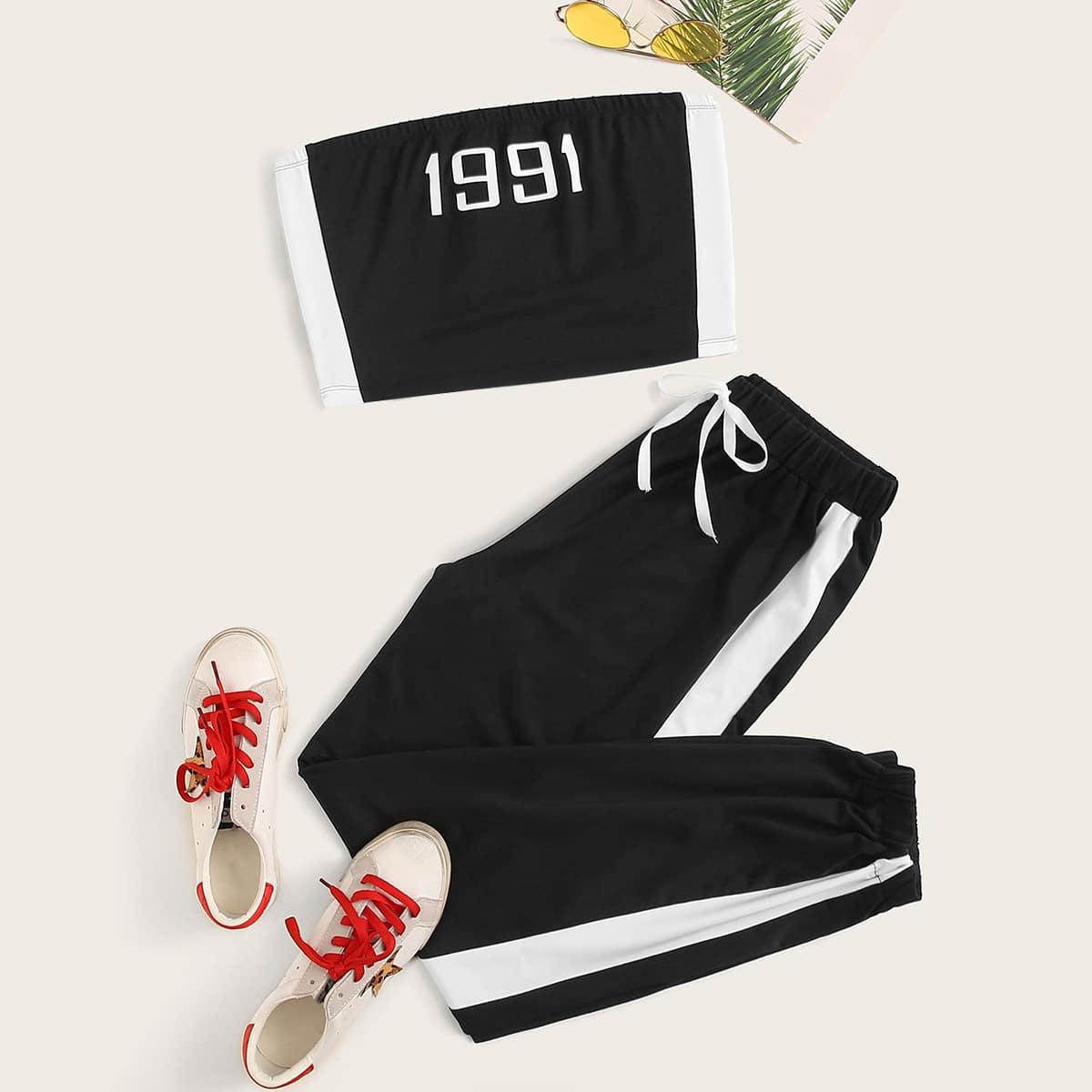 Контрастные спортивные брюки и топ без бретелек от SHEIN