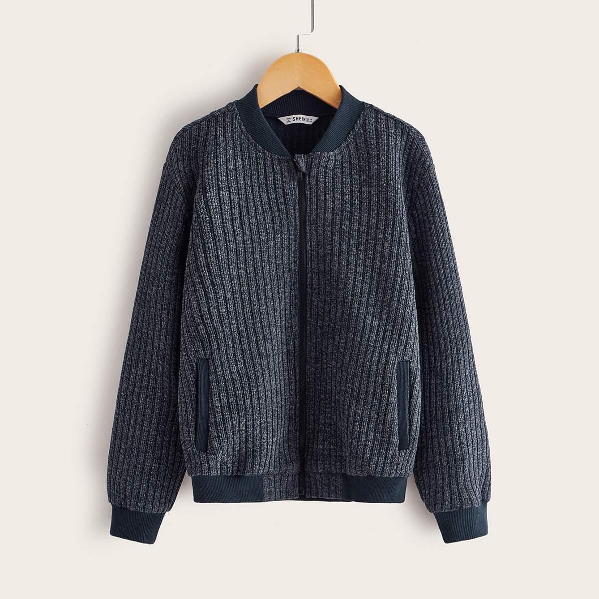 Полосатая вязанная куртка-бомбер на молнии для мальчиков от SHEIN