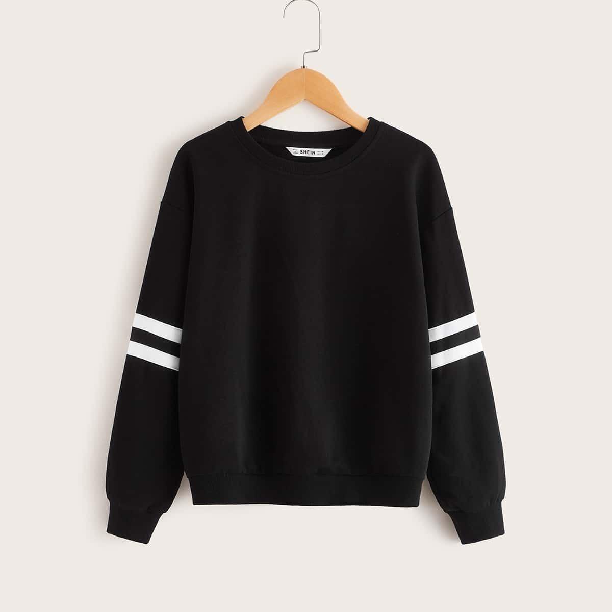 Zwart Sporten Gestreept Jongens Sweatshirts