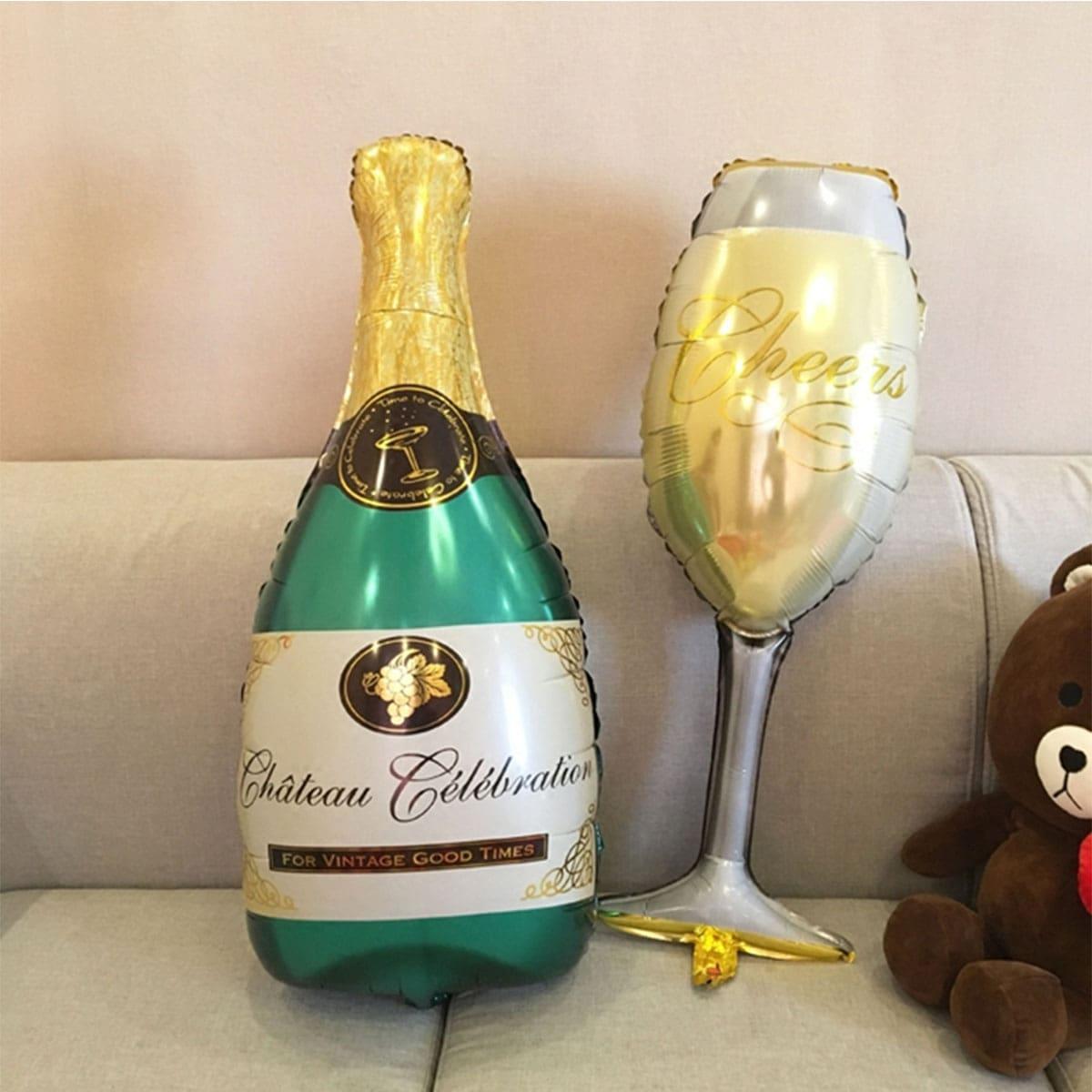 Champagnefles & bekervormige decoratieve ballon 1 st