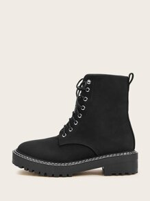 Black Comfort Combat Boots Boots, size features are:Bust: ,Length: ,Sleeve Length: