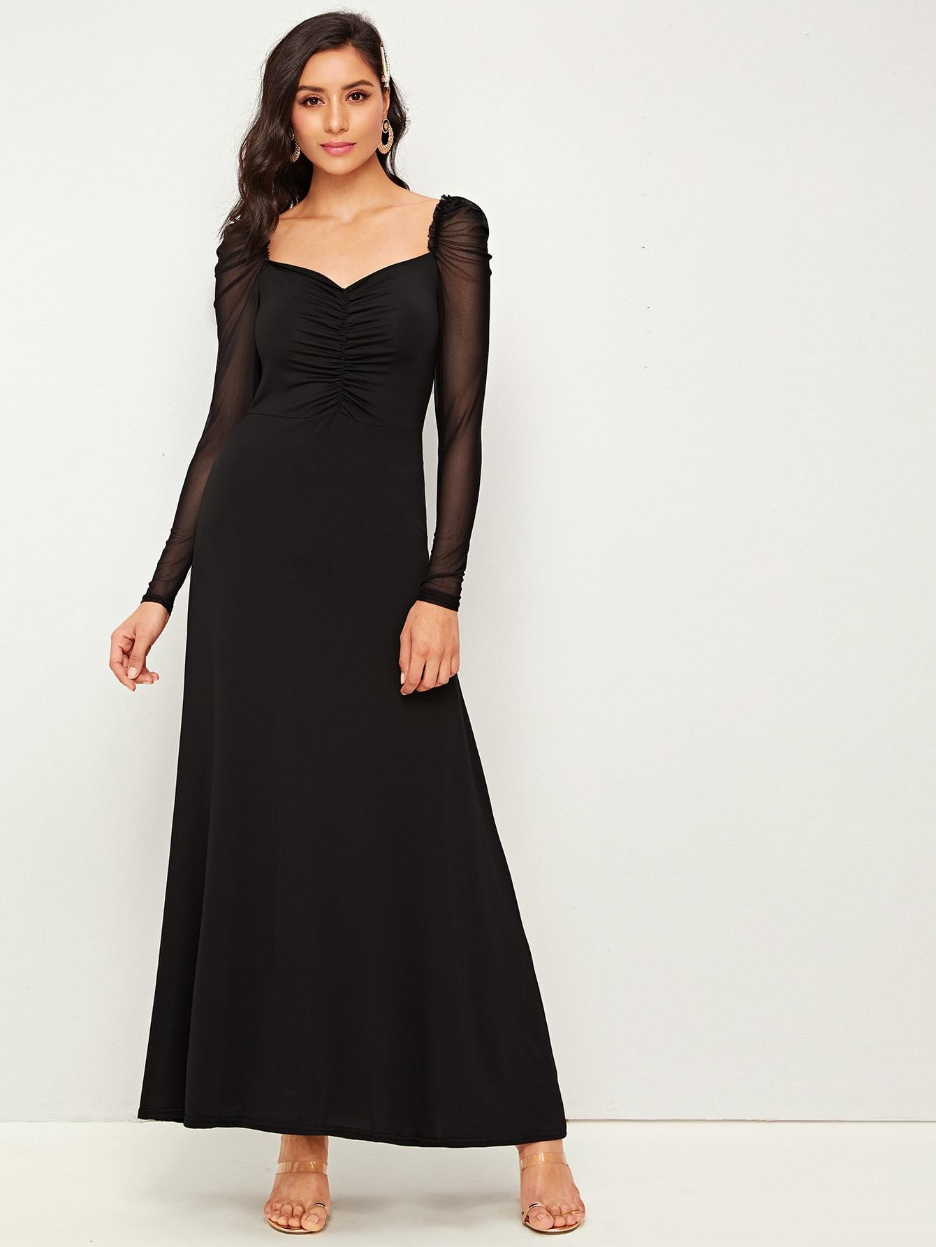 Макси платье с пышными рукавами