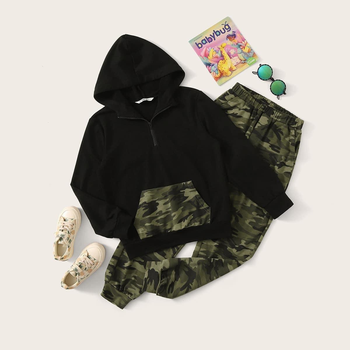Veel kleurig Sporten Camouflage Tweedelige jongens outfits Zak