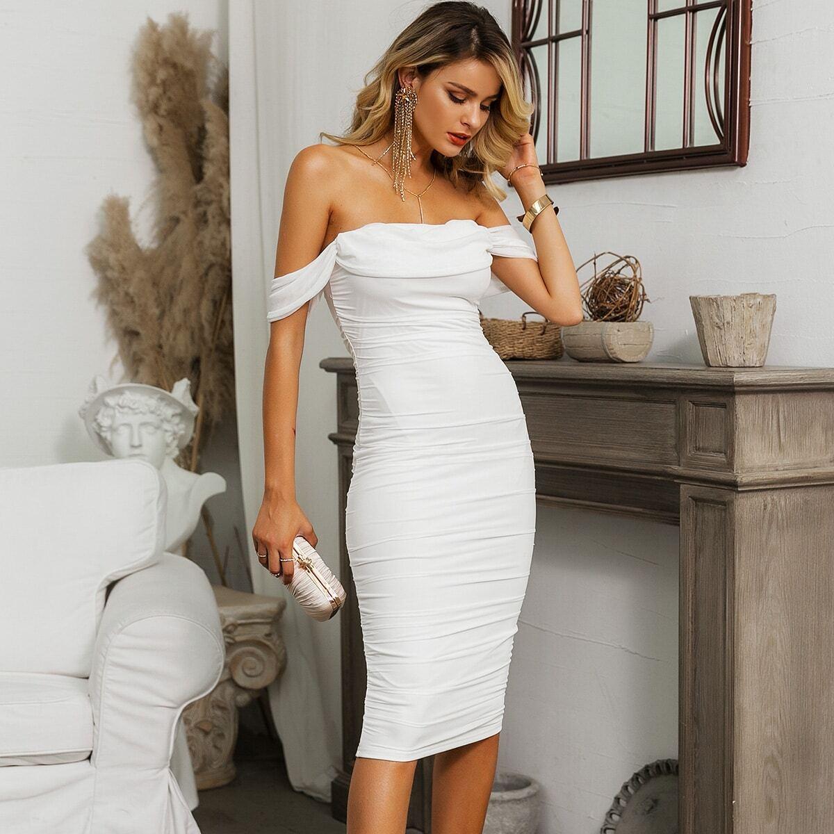 сетчатое платье с открытыми плечами от SHEIN