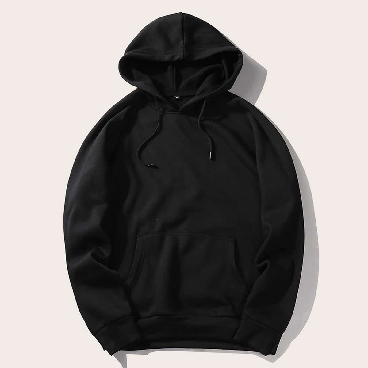 Zwart Casual Koord Vlak Sweatshirts voor heren