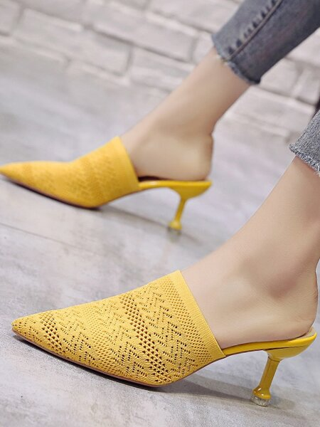Point Toe Crochet Stiletto Heeled Mules