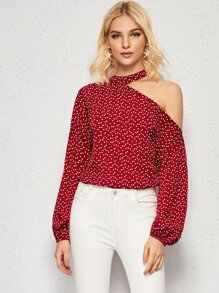 Confetti Heart Print Asymmetrical Neck Blouse