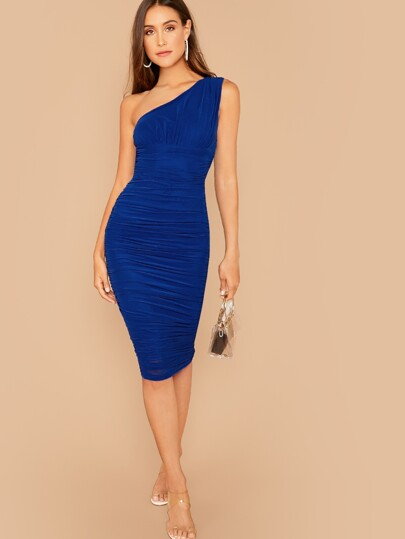 SheIn / One Shoulder Ruched Bodycon Dress