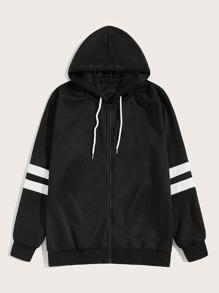 Drawstring   Stripe   Jacket   Hood   Men
