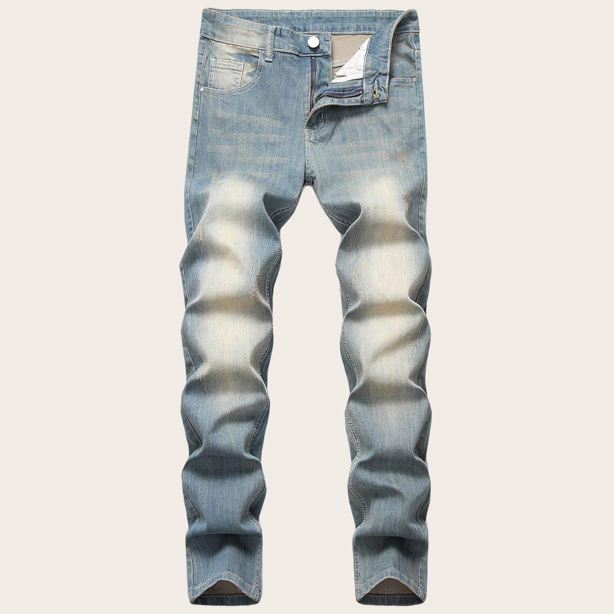 Blauw Casual Heren Jeans Gewassen