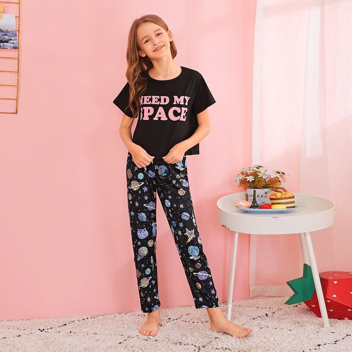 Пижама с оригинальным принтом для девочек от SHEIN
