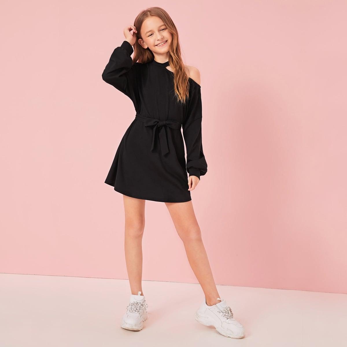 Платье с оригинальным рукавом и поясом для девочек от SHEIN