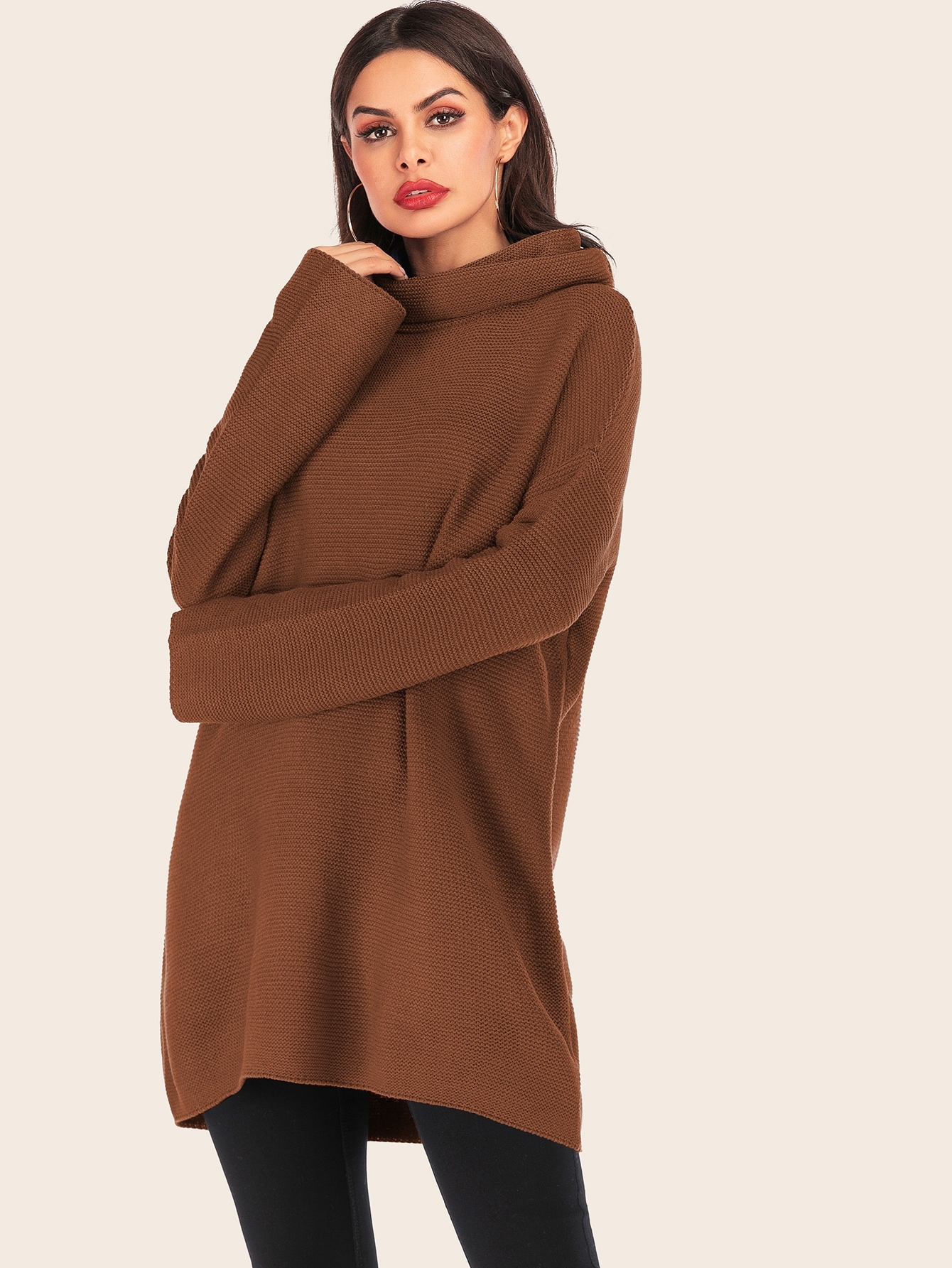 Solid High Neck Drop Shoulder Sweater, Andy, SheIn, Brown  - buy with discount