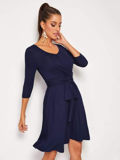 SheIn / Cross Wrap Front Self Belted Dress