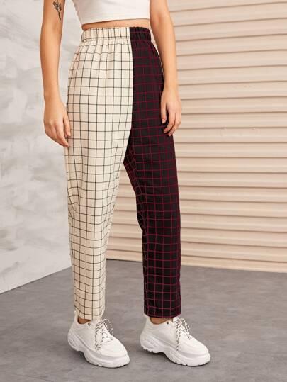 SheIn / Двухцветные брюки в клетку с эластичной талией