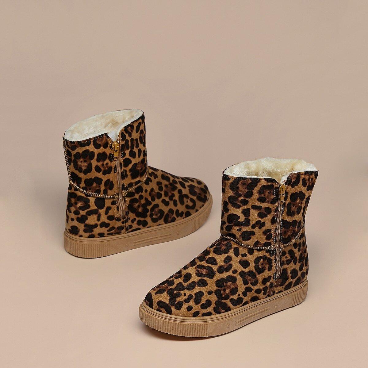 Леопардовые зимние сапоги из искусственного меха на подкладке от SHEIN