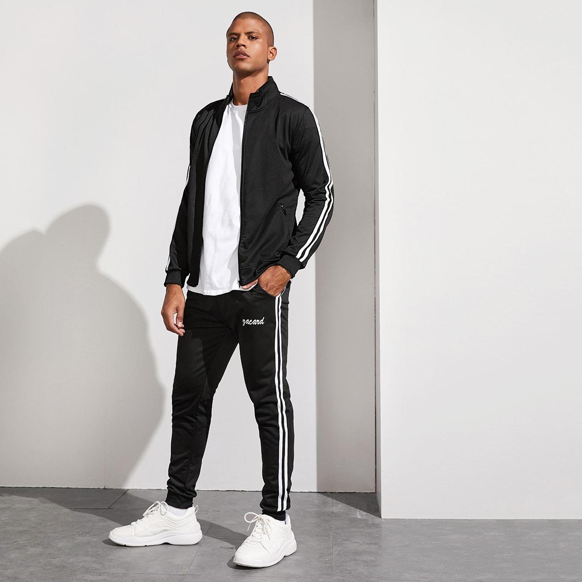 Мужские спортивные брюки и куртка с полосками от SHEIN