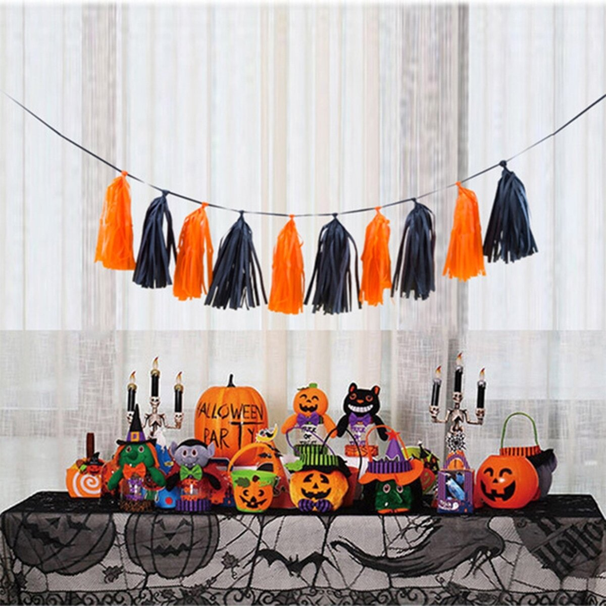 Halloween Decoratief papieren kwastje 10st