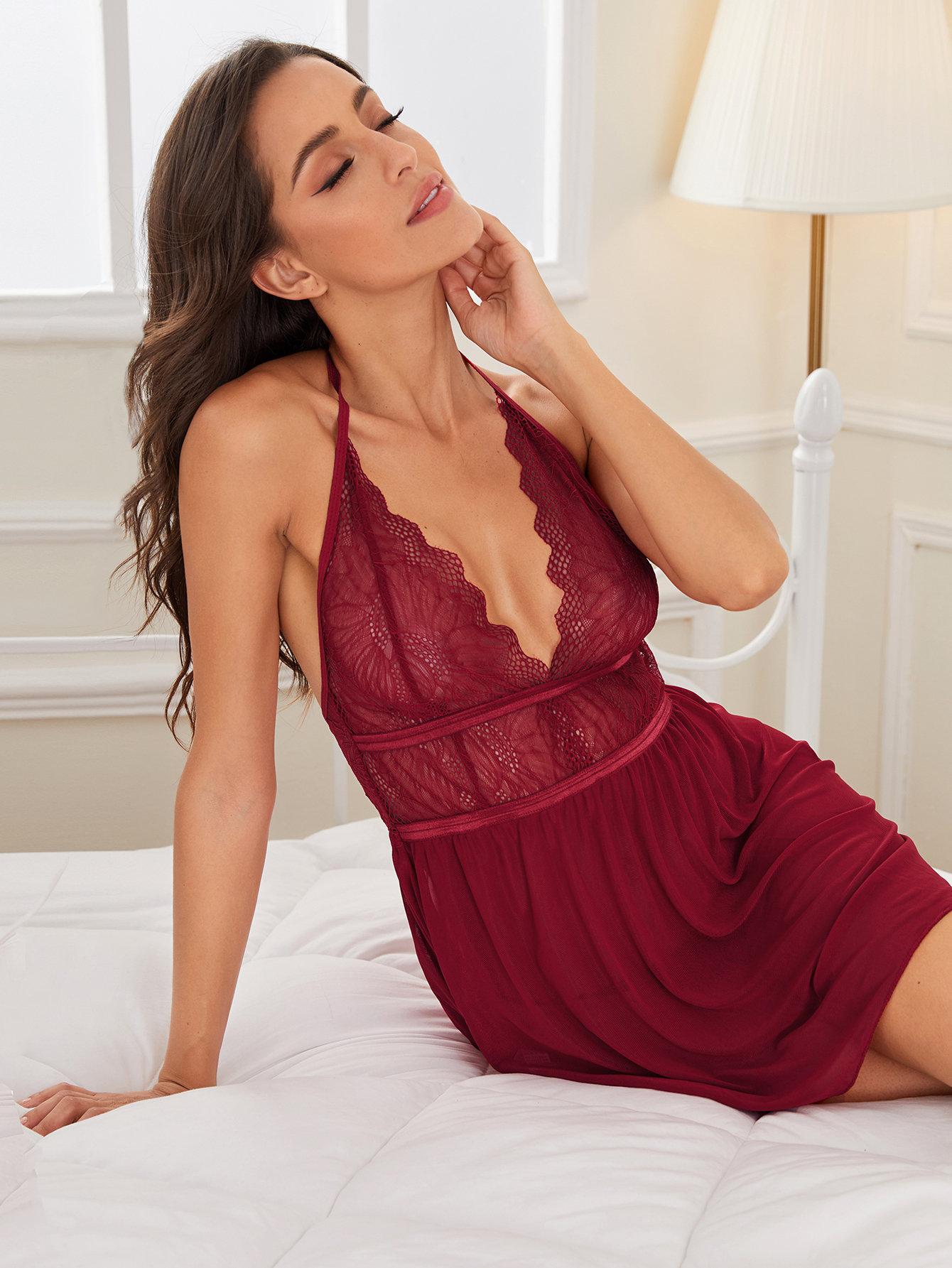Сексуальная Кружевная Ночная Рубашка И Трусики Стринги Комплект