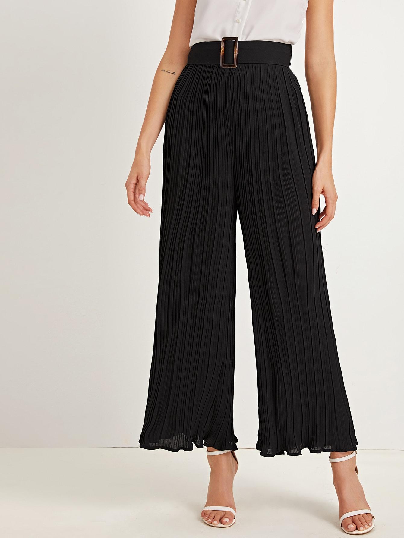 Плиссированные брюки на молнии