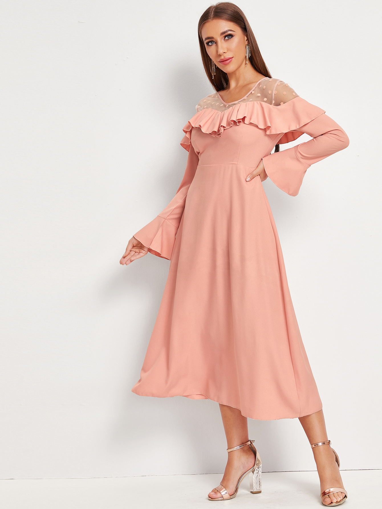 Contrast Dobby Mesh Ruffle Trim A-line Dress