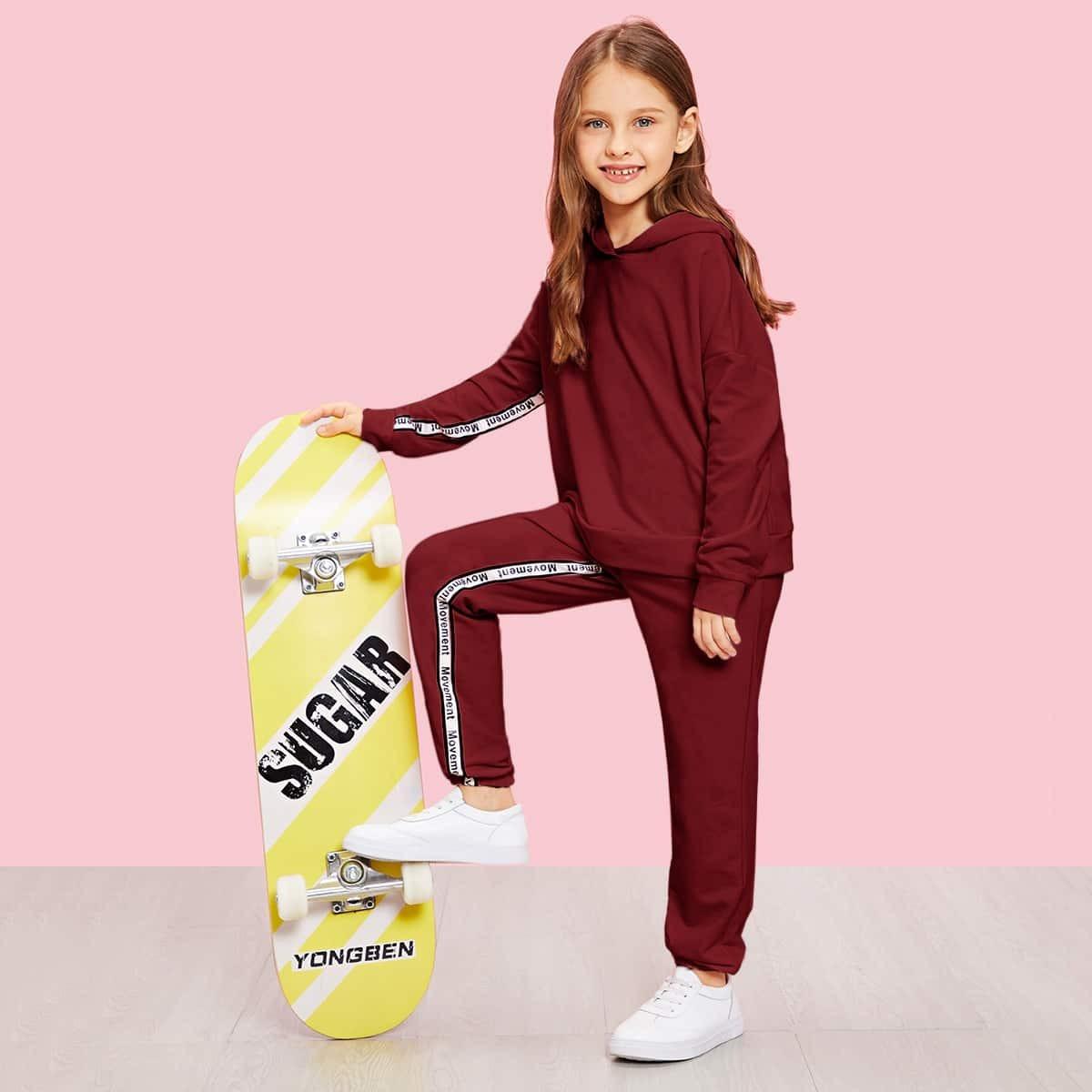 Спортивные брюки и толстовка с текстовой лентой для девочек от SHEIN