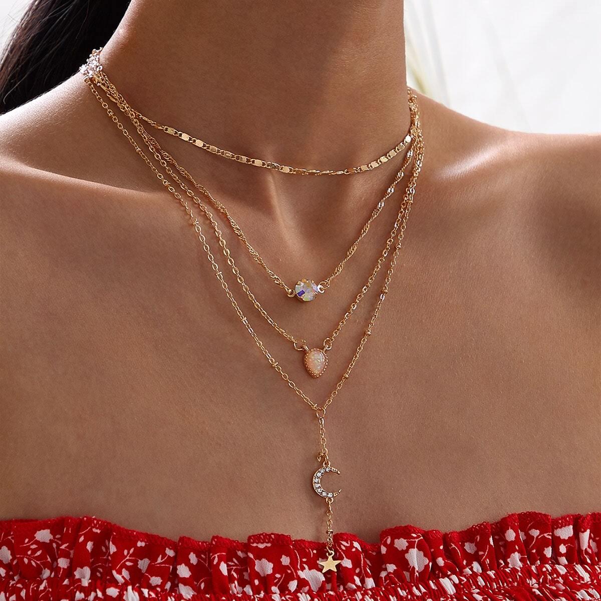 SHEIN / Lasso mehrschichtige Halskette mit Mond & Stern Anhänger 1 Stück