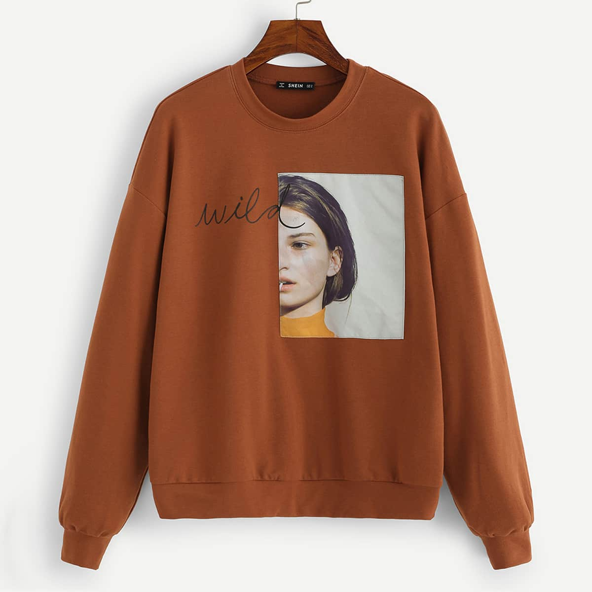 Bruin Casual Tekst Sweater Patched