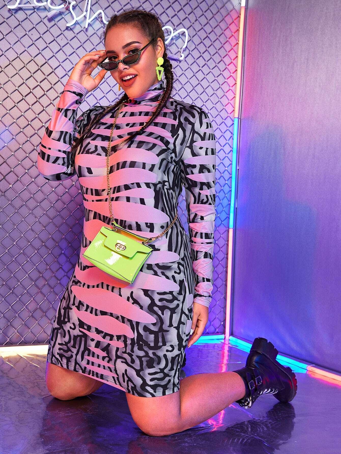 Облегающее платье размера плюс с высоким вырезом без сумки
