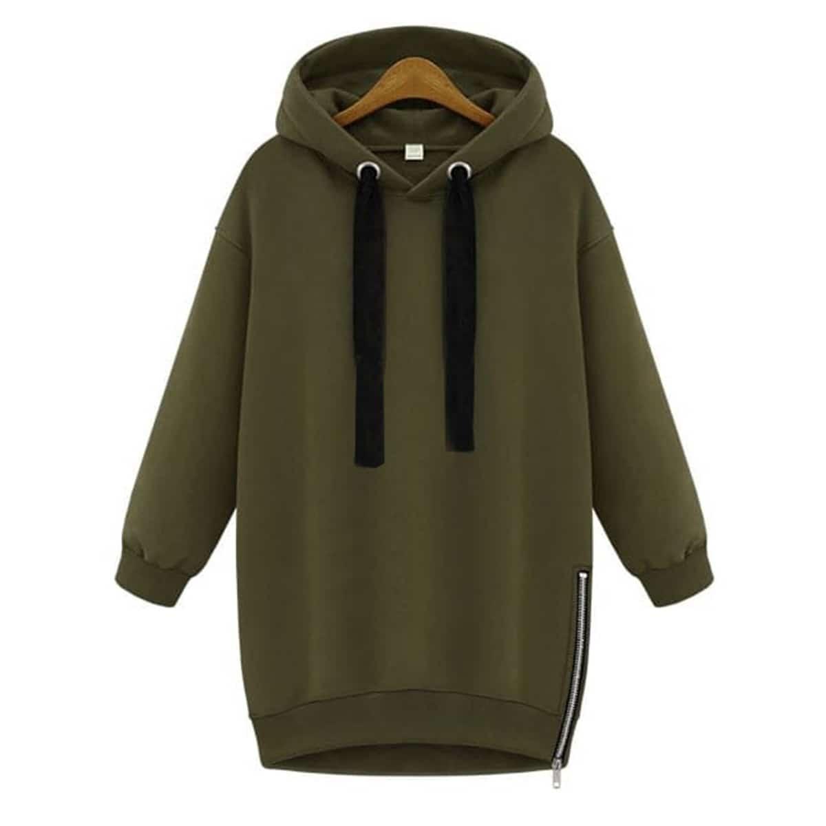 Lange hoodie met breed tunnelkoord