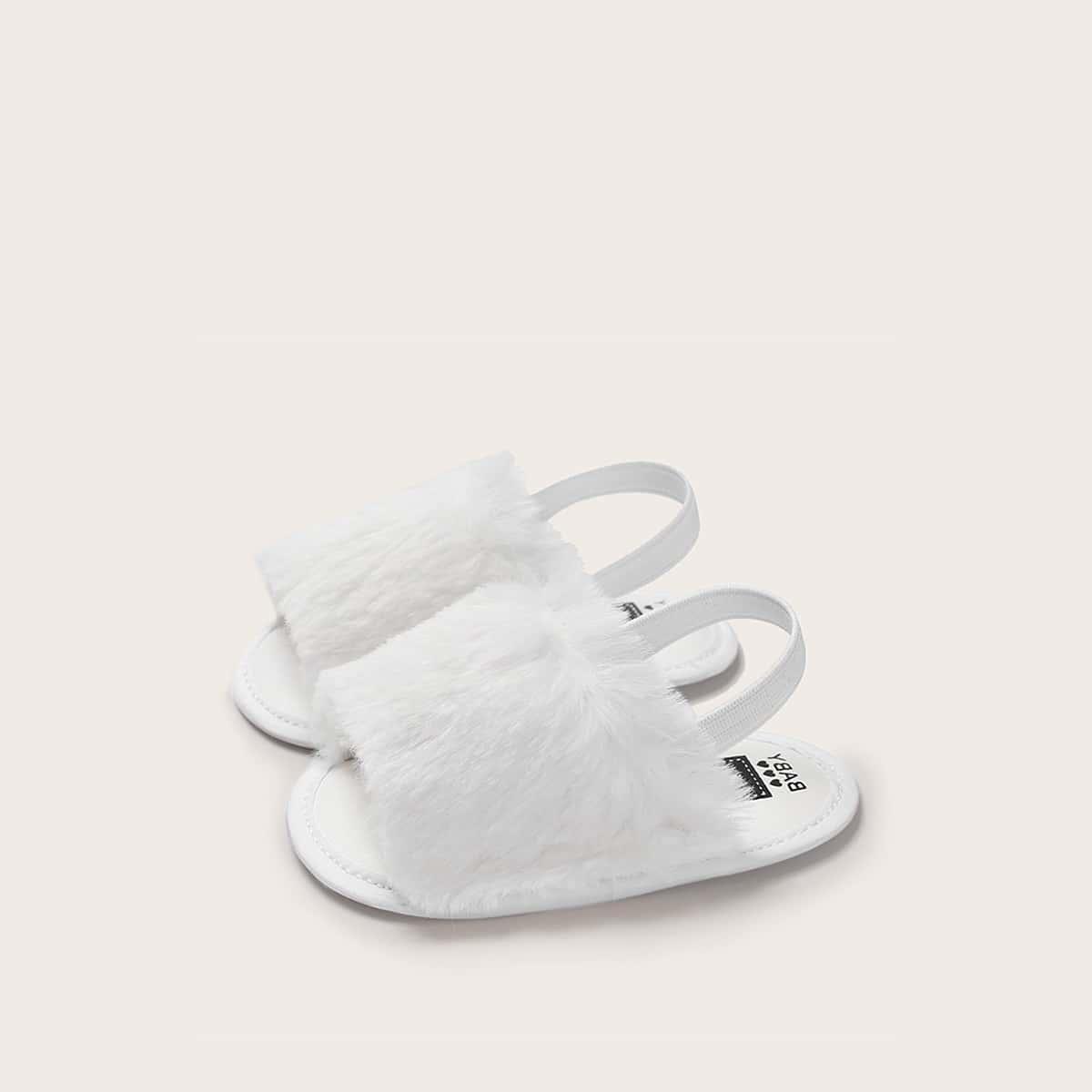 Детские сандалии с открытой пяткой и искусственным мехом от SHEIN