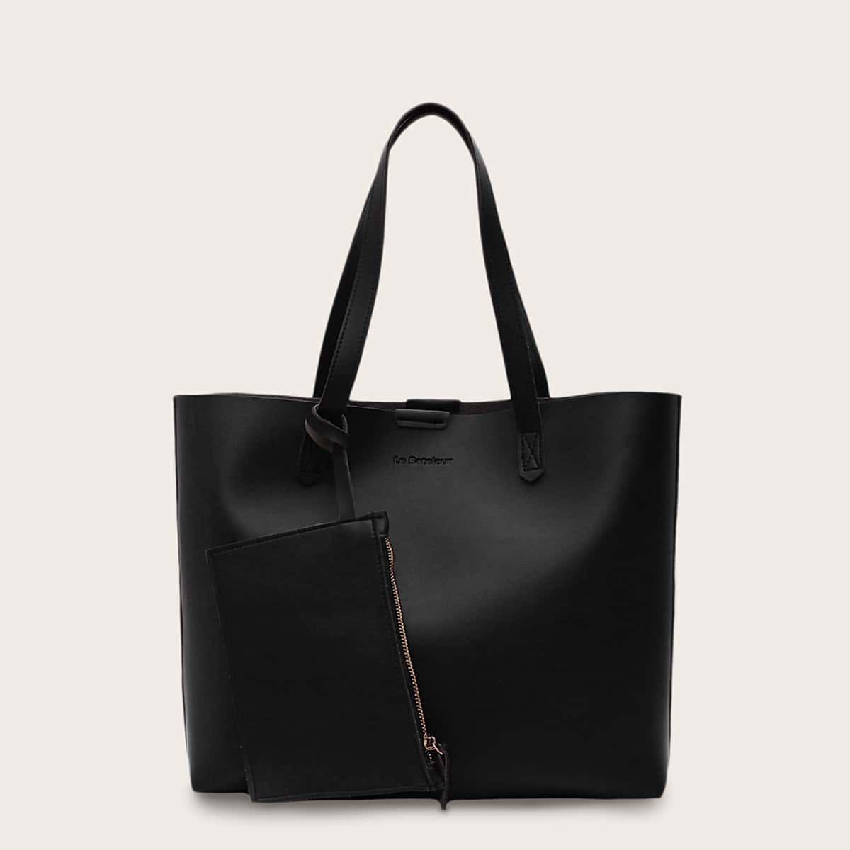 чёрный Одноцветный Деловый стиль  Сумочка с от SHEIN