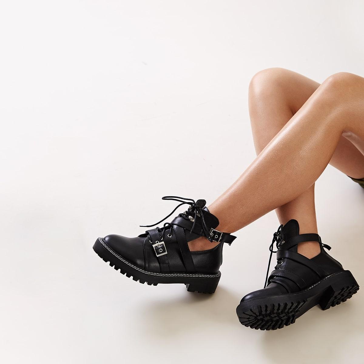 Zwart Comfortabel Vlak Laarzen Uitgeknipt