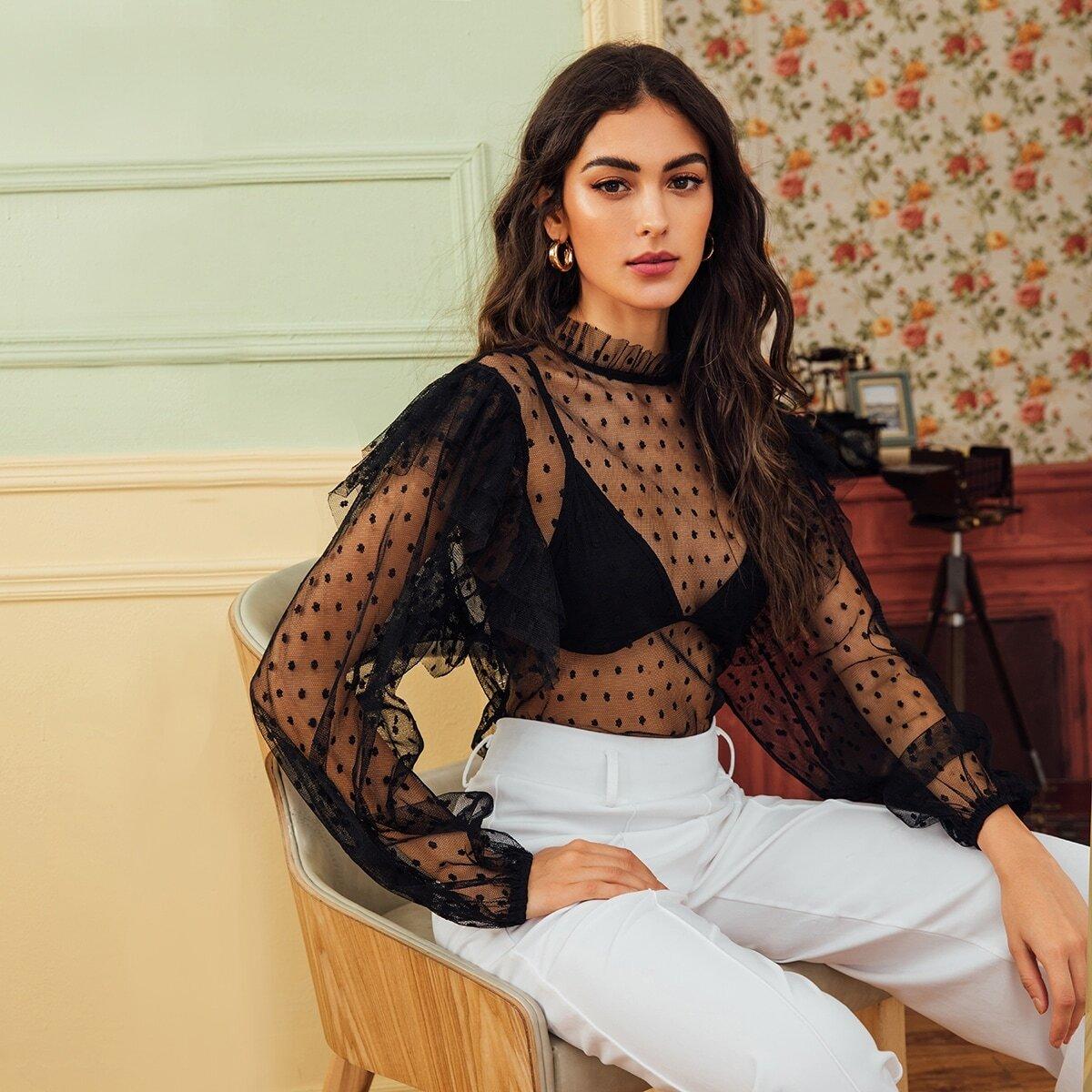 SHEIN / Bluse mit Rüschen am Kragen, Punkten Muster und Netzstoff
