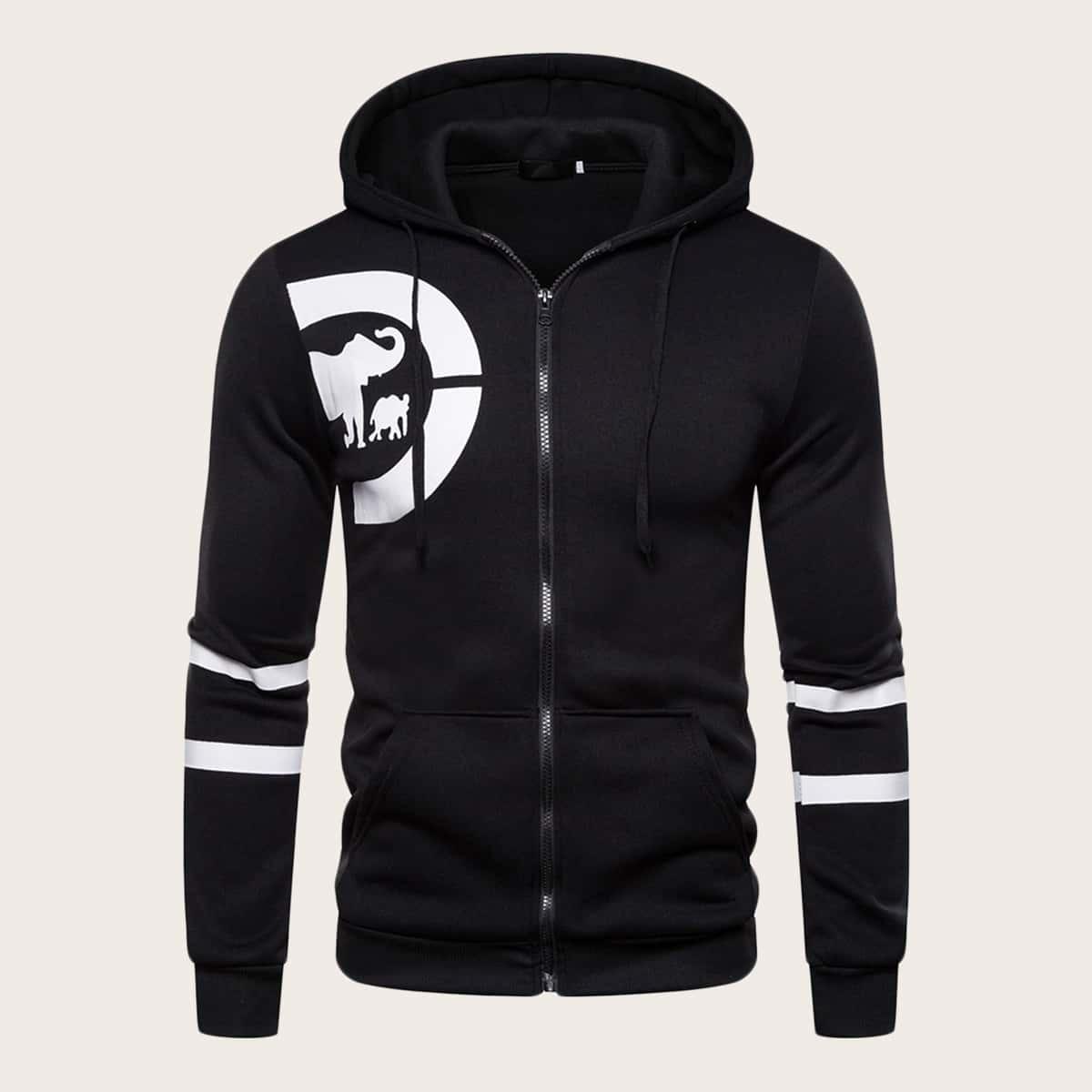 Zwart Casual Koord Gestreept Sweatshirts voor heren