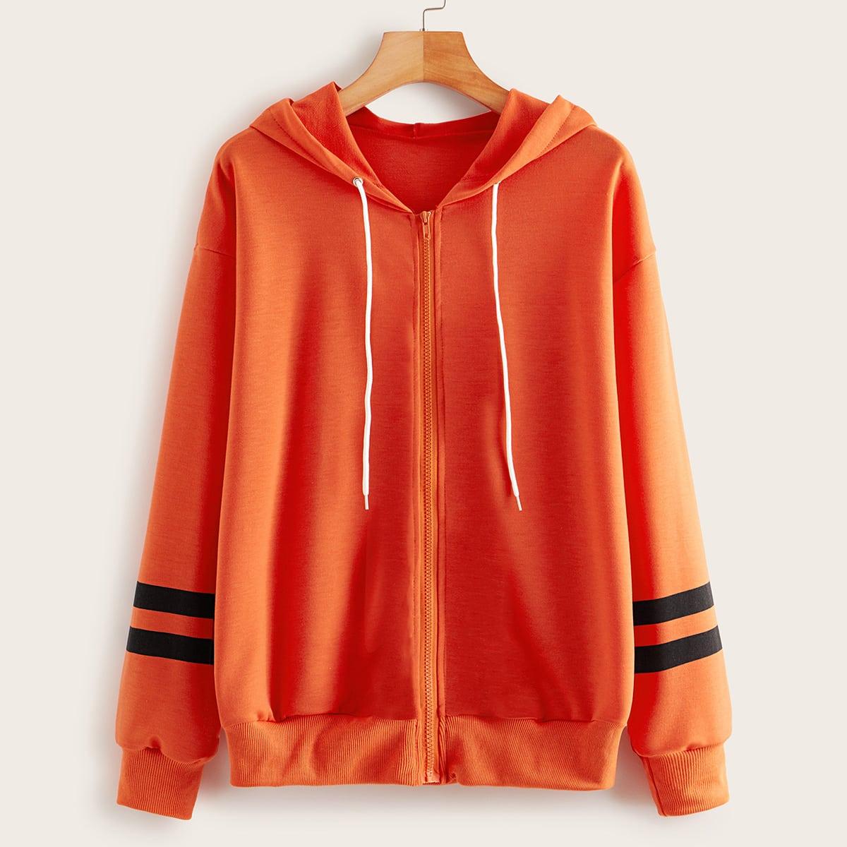 SHEIN / Neon Orange Hoodie mit Streifen und Reißverschluss
