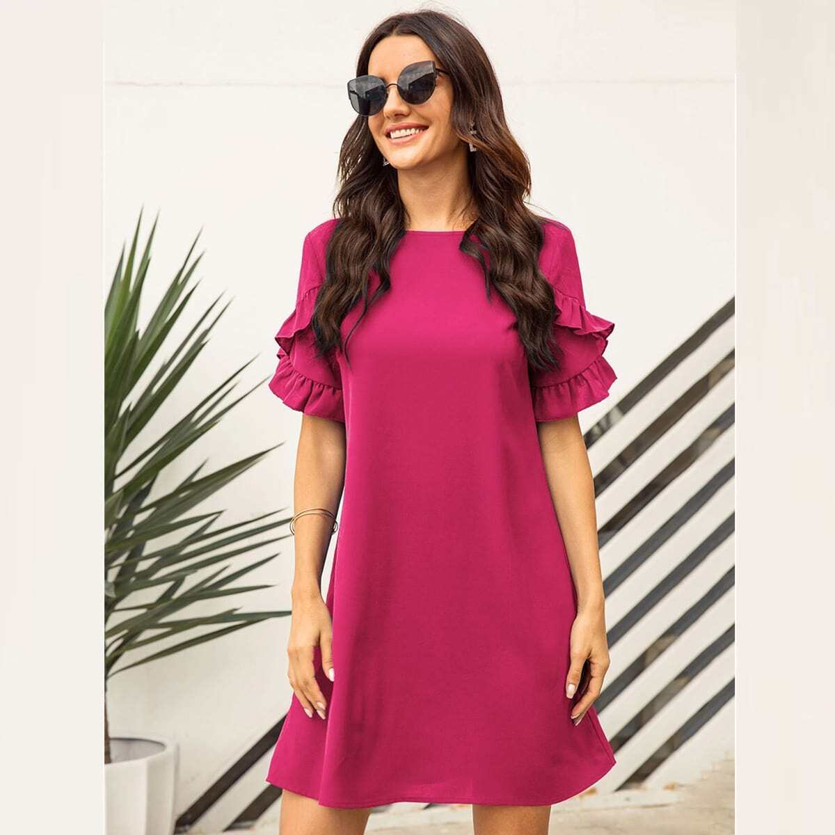 Solid Ruffle Sleeve Tunic Dress