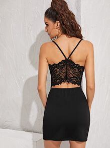 Contrast Lace Back Bodycon Cami Dress