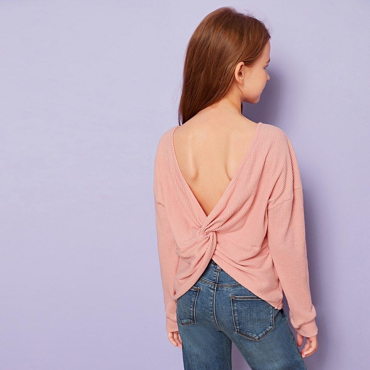 SHEIN / Mädchen Strick T-Shirt mit Twist