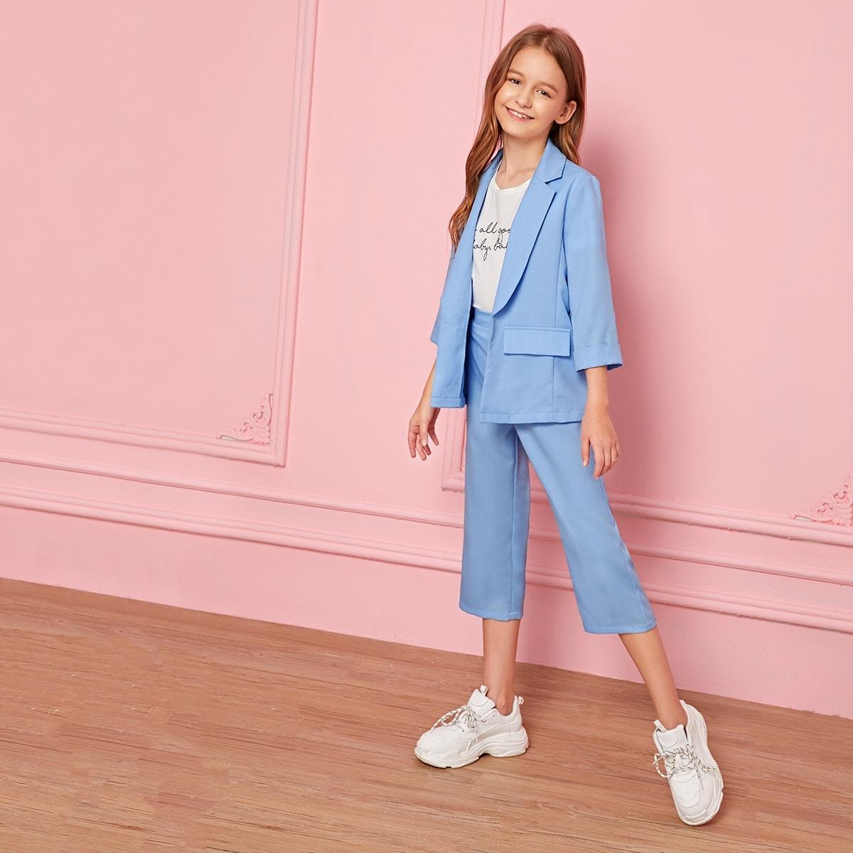 Пиджак с клиновидным вырезом и брюки для девочек от SHEIN