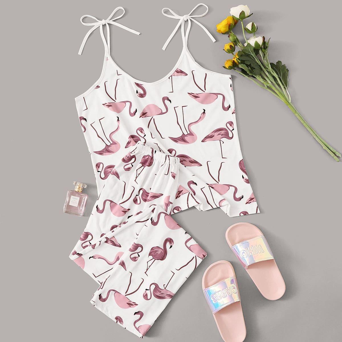 Willekeurige Flamingo Print Cami PJ Set